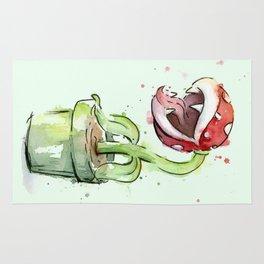 Piranha Plant Watercolor Geek Gaming Mario Art Rug