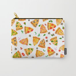 Watercolor Pizza Fast Food Pattern Carry-All Pouch