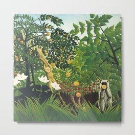 "Henri Rousseau ""Monkeys in the jungle - litograph"" Metal Print"