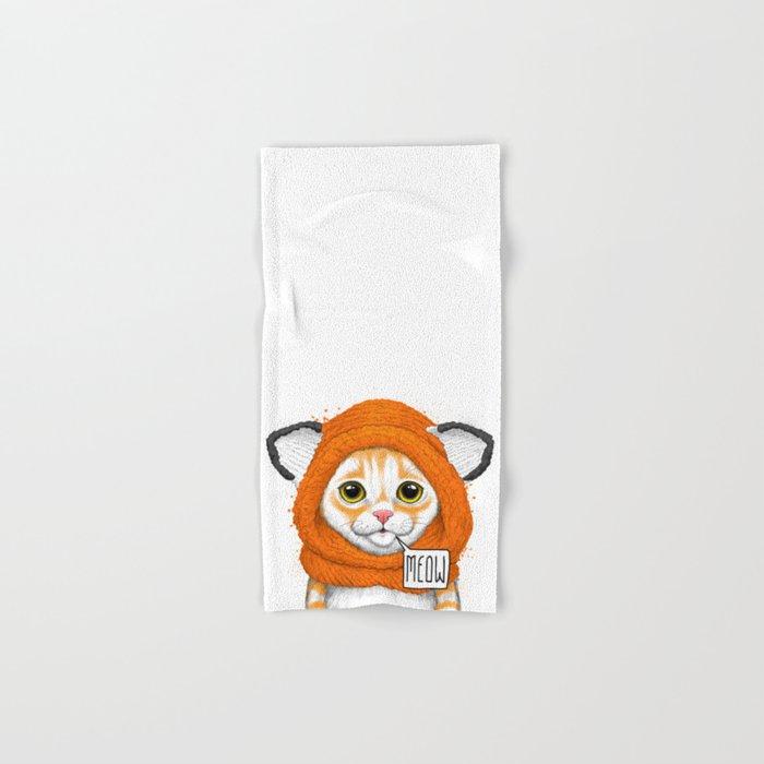 kitten in fox cap Hand & Bath Towel