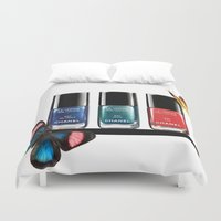 nail polish Duvet Covers featuring Butterflies & Nail Polish  by Luxe Glam Decor