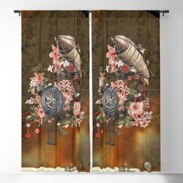 Steampunk design with clocks, gears and flowers Blackout Curtain