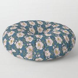 Peony Love on Navy Floor Pillow
