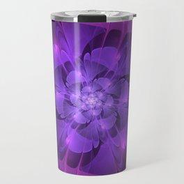 Purple Dew Drops | Abstract digital flower Travel Mug
