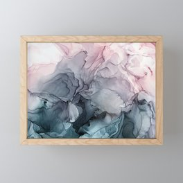 Blush and Payne's Grey Flowing Abstract Painting Framed Mini Art Print
