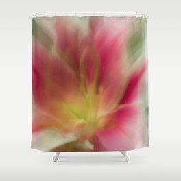 Abstract Pink, Yellow, White Lily-Fleur Blur Series Shower Curtain