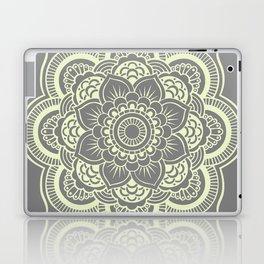 Mandala Flower Gray & Pastel Yellow Laptop & iPad Skin