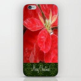 Mottled Red Poinsettia 1 Ephemeral Merry Christmas S6F1 iPhone Skin