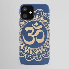 Blue and Gold Ohm Mandala iPhone Case