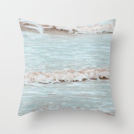 sea waves photography vintage colors Throw Pillow