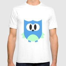 Cute Little Owl; Blue. MEDIUM White Mens Fitted Tee