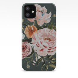 Loose Peonies and Poppies on Vintage Green iPhone Case