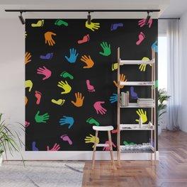 Handprint footprint multicolored Wall Mural