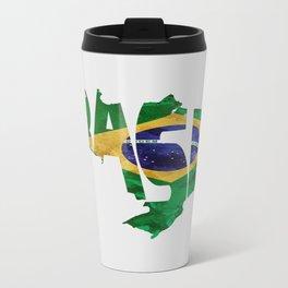 Brasil Typographic World Map / Brasil Typography Flag Map Art Travel Mug