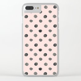 Hand drawn grey dots on pink - Mix & Match with Simplicty of life Clear iPhone Case