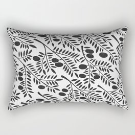 Black Olive Branches Rectangular Pillow