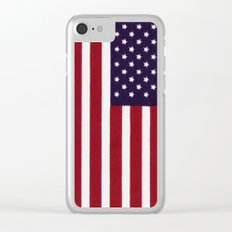 American flag with painterly treatment Clear iPhone Case