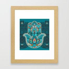 Hamsa Hand of Fatima, good luck charm, protection symbol anti evil eye Framed Art Print