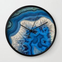blue green agate slice Wall Clock