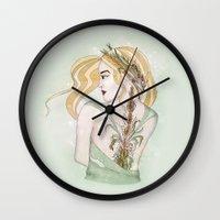 virgo Wall Clocks featuring Virgo by Vibeke Koehler