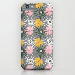 Tropical Foliage Pattern on Gray iPhone Case