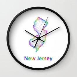 Rainbow New Jersey map Wall Clock