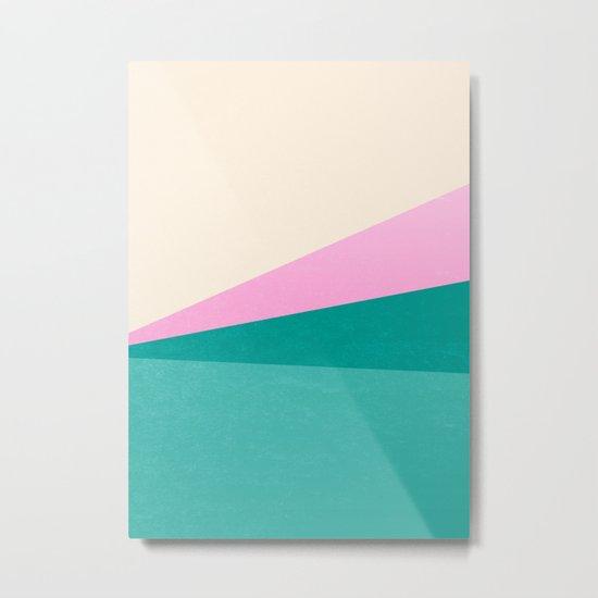 Stripe XIV Pink Summer Sunrise Metal Print