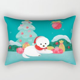 Christmas bichon frise 2 Rectangular Pillow