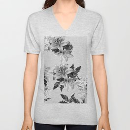 LILY SILVER GRAY WITH HYDRANGEAS AND FERNS Unisex V-Neck