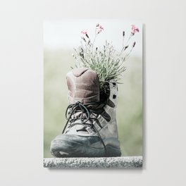 Hiking Boot With Flowers Photo | Travel Photography | Hiking Lovers Metal Print