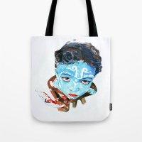 hindu Tote Bags featuring Hindu Boy by Cristian Blanxer