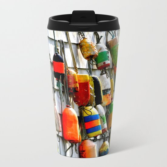 COLOURFUL FISHING FLOATS Metal Travel Mug