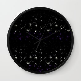 Dandelion Seeds Asexual Pride (black background) Wall Clock