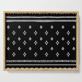 Rhombus & Lines White on Black Serving Tray
