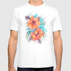 TROPICAL FLOWER {orange hibiscus}  White Mens Fitted Tee MEDIUM