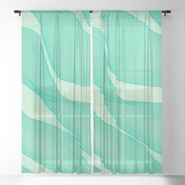 Abstract flowing ribbons in mint green Sheer Curtain