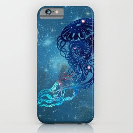 Blue Galactic Jelly Fish iPhone Case