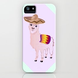 Cartoon Alpaca in Sombrero iPhone Case