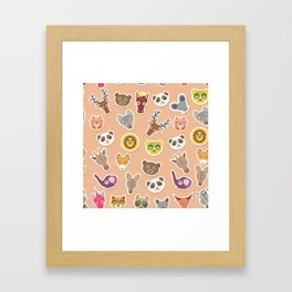Set of funny animals muzzle seamless pattern. pink peach background. Vector Framed Art Print