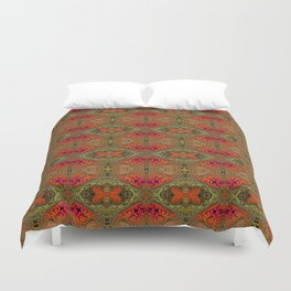 Whimsical pink, orange and green retro pattern  Duvet Cover