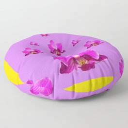 PURPLE ORCHID FLOWERS RAIN YELLOW ART Floor Pillow