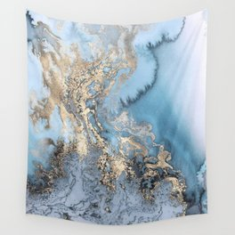 Gold and Blue Marble Wall Tapestry