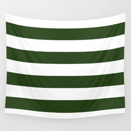 Large Dark Forest Green and White Cabana Tent Stripes Wall Tapestry