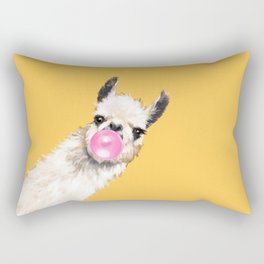 Bubble Gum Sneaky Llama in Yellow Rectangular Pillow