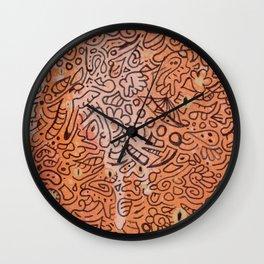 fall vibes orange doodle acrylic wood board Wall Clock