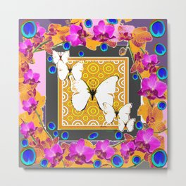 Golden Butterflies  Orchids & Blue  Peacock Eyrsd On Puce Art Metal Print