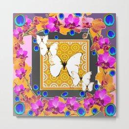 Golden Butterflies  Orchids & Blue  Peacock Eyrsd On Puce Art Metal Print