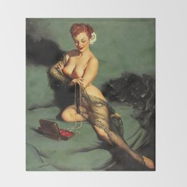 Fascination Gil Elvgren Pin Up Girl Throw Blanket