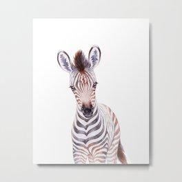 Little Zebra, Safari Baby Animals, Cute Nursery Animals Kids Room Playroom Decor Metal Print
