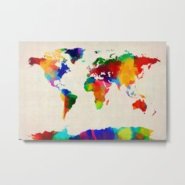 Map of the World Map Painting Metal Print